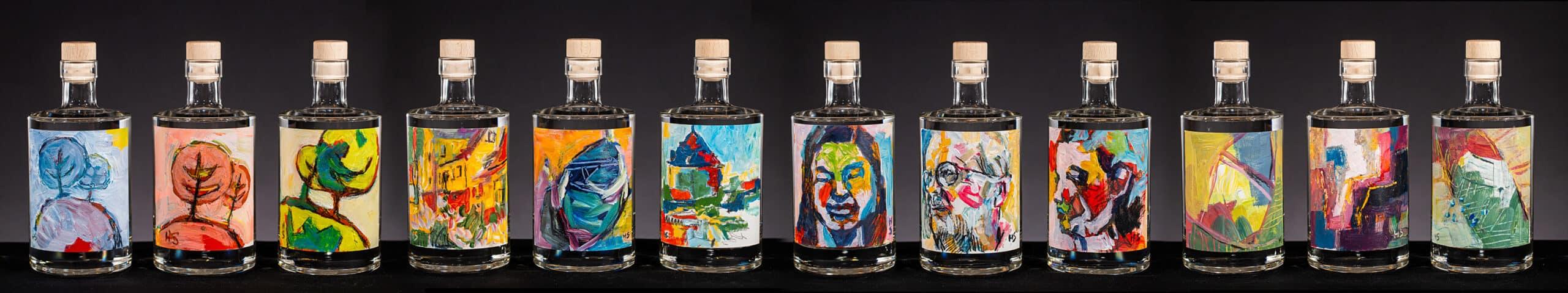 Kunstflasker samlet scaled | Woodhill Gin
